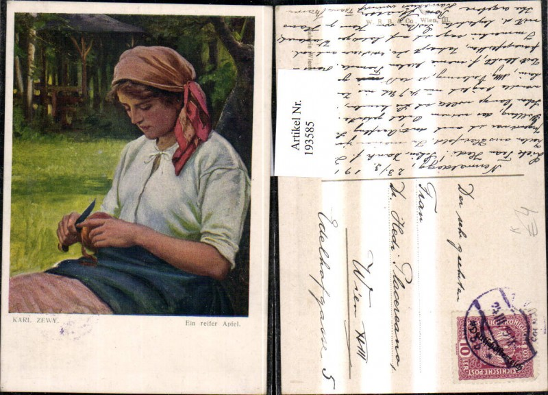 193585,Künstler Ak Karl Zewy Ein reifer Apfel Frau b. Apfelschälen Apfel Messer