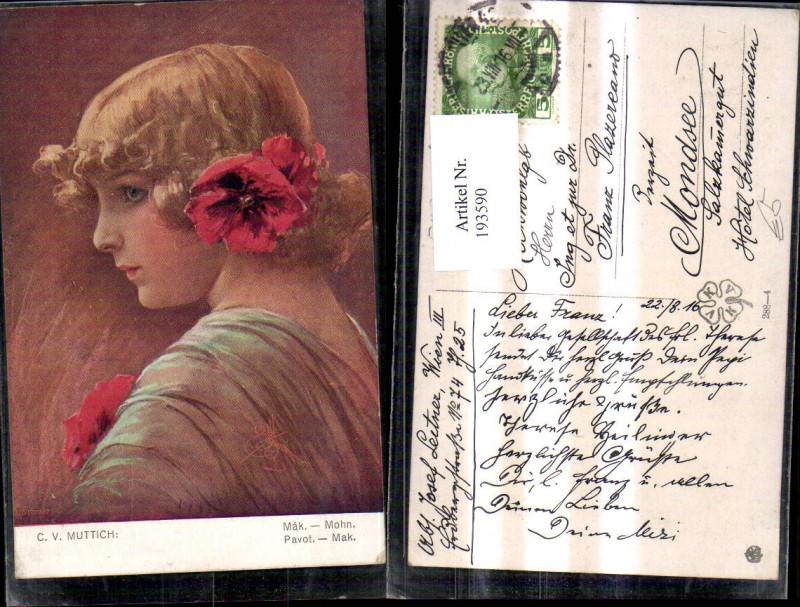 193590,Künstler Ak C. V. Muttich Mohn Mädchen m. Mohnblüte i. Haar