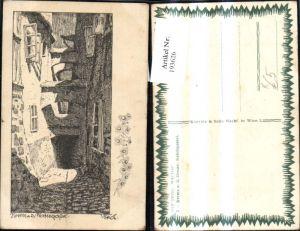 193626,Künstler Ak Ulf Seidl Krems a. d. Donau Rabengassel Bleistiftzeichnung Radierung
