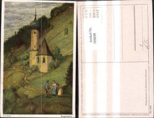 193630,Künstler Ak M. Schiestl Bergkirchlein Kirche Frauen Mann