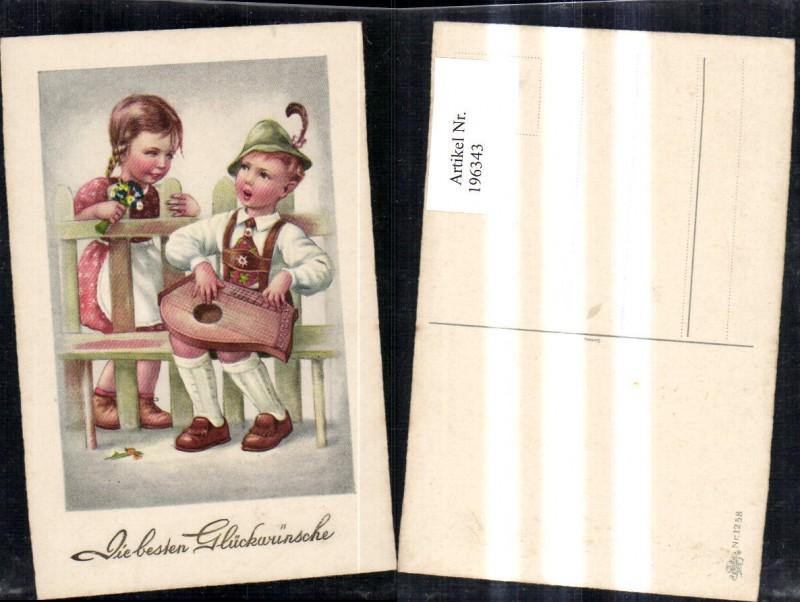 196343,Kind Kinder Mädchen Bub Junge m. Mandoline Blumen a. Bank b. Zaun