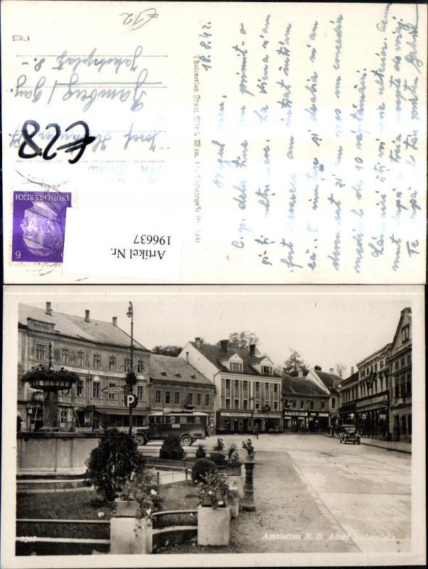 196637,Amstetten Hauptplatz m. Autobus Bus Brunnen Automobil  0