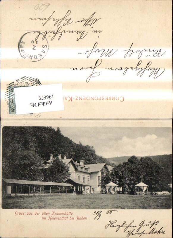 196679,Baden b. Wien Helenental Alte Krainerhütte  0