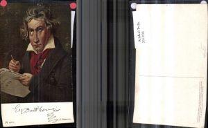 205304,Künstler Ak J. Stieler Komponist Ludwig v. Beethoven Notenheft Stift