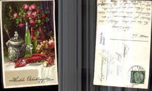205447,Tisch bedeckt m. Hummer Fisch Weintrauben Apfel Sekt Wein Glas Rosen