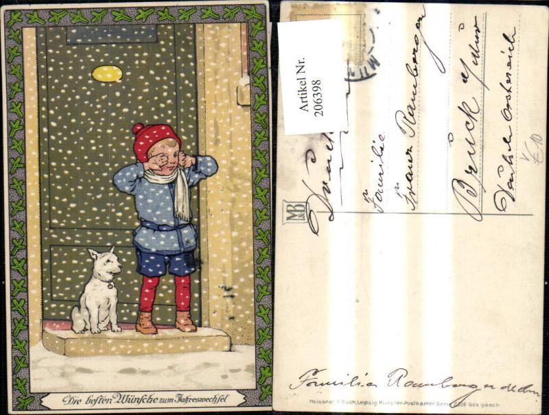 206398,Künstler Ak Meissner & Buch 2316 Kind Junge m. Hund i. Schnee v. Tür Jahreswechsel  0