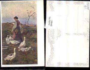 """206461,Künstler AK Rudolf Konopa """"Gardeuse d'oies"""" Frau b. Lesen Gäsne"""