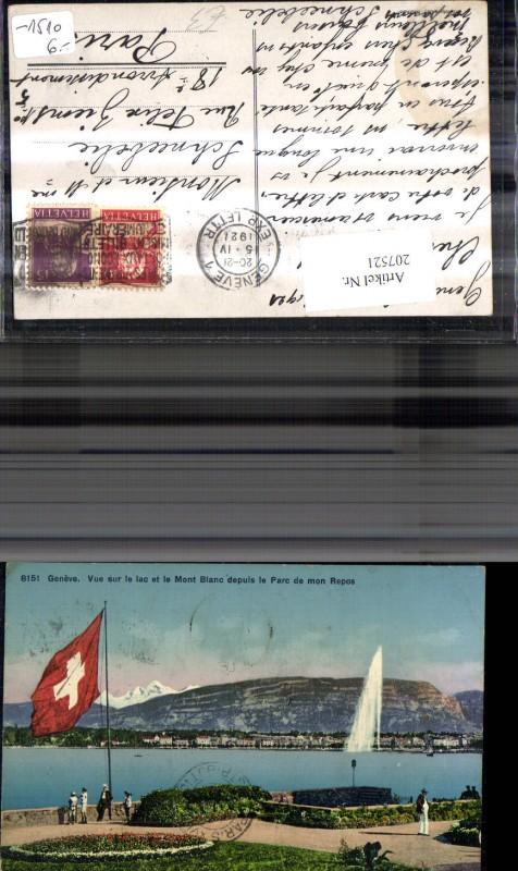 207521,Geneve Genf Vue sur le lac et le Mont blanc depuis le Parc de mon Repos Fontäne Flagge