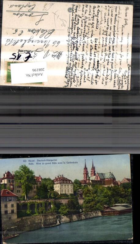 208196,Basel Deutschrittergarten Bale Rive du grand Bale avec le Cathedrale