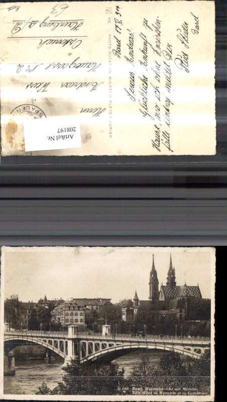 208197,Basel Wettsteinbrücke m. Münster Bale Pont de Wettstein et la Cathedrale