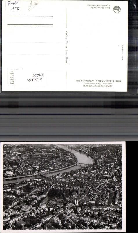 208200,Basel Fliegeraufnahme Spalentor Mittlere u. Wettsteinbrücke