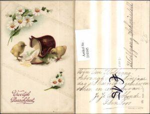 210345,Präge AK Ostern Küken Krug Blumen pub HWB 2223