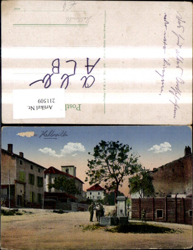 211509,Halloville Strassenansicht m. Personen Brunnen Männer