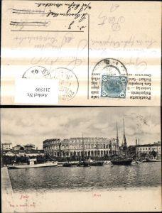 211599,Pola Arena Schiffe Boote Dampfer i. Vordergrund