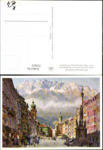 212623,Künstler AK Edo v. Handel-Mazzetti Innsbruck Maria-Theresienstraße m. Nordkette Straßenansicht