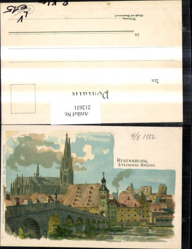 212631,Künstler Litho AK P. Kley Regensburg Steinerne Brücke Dom Kirche