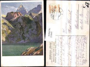 212647,Künstler AK Edo v. Handel-Mazzetti Schwarzensee geg d. Feldkopf Spitze Partie im Zillertal