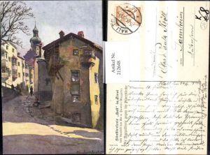 212648,Künstler AK Edo v. Handel-Mazzetti Hall i. Tirol Naggelburg geg. d. Pfarrkirche Straßenansicht