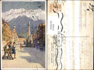 212650,Künstler AK Edo v. Handel-Mazzetti Innsbruck Maria Theresienstraße m. Anna-Säule geg. d. Nordkette