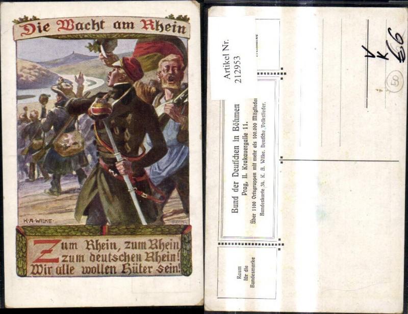 212953,Bund d. Deutschen i. Böhmen 34 K. A. Wilke Die Macht a. Rhein Soldaten Spruch Reim