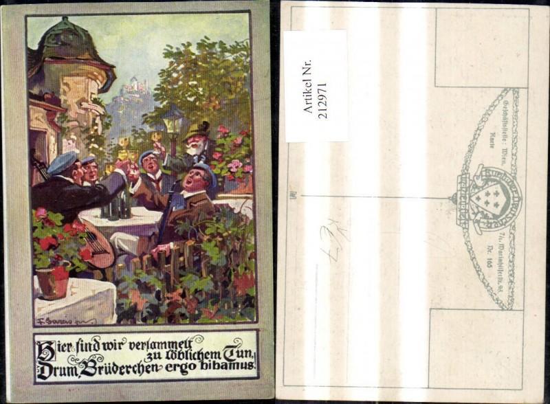212971,Bund d. Deutschen i. Niederösterreich 165 F. Gareis Gesellige Runde Wein Gitarre Spruch Reim