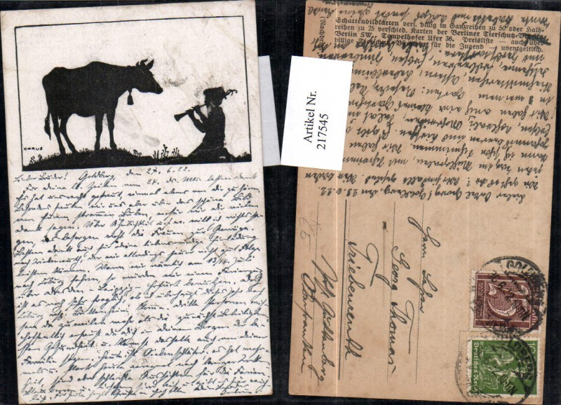 217545,Künstler AK Carus Scherenschnitt Silhouette Junge m. Flöte Kuh m. Glocke