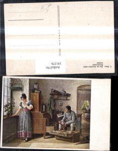 """191376,Künstler AK C. Zewy """"Als ich Abschied nahm"""" Mann packt Koffer Frau weint Taschentuch Vogelkäfig"""