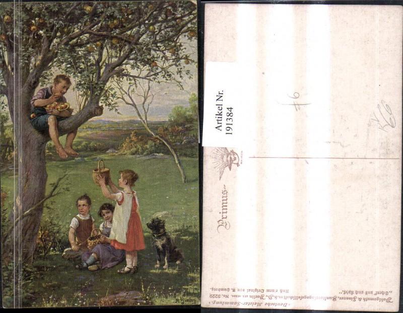 """191384,Künstler AK A. Humborg """"Schenkt uns auch Äpfel"""" Kinder Korb Apfelbaum Äpfel Hund pub Wohlgemuth & Lissner"""