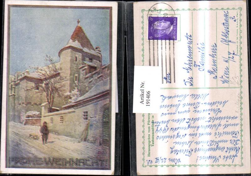 """191406,Künstler AK K. Moser """"Frohe Weihnacht"""" Winterbild Ortsansicht Kind m. Schlitten"""