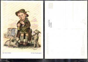 """213996,Künstler AK Arnulf Erich Stegmann """"Der kleine Schäfer"""" Original m. d. Mund gemalt Junge m. Hut u. Flöte Sc"""