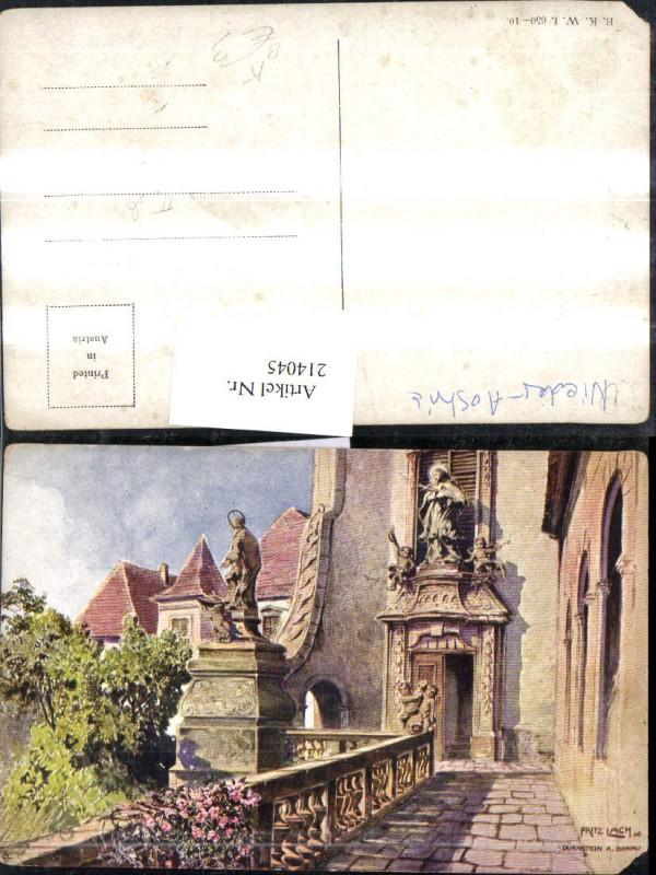 214045,Künstler AK Lach Fritz Dürnstein a. d. Donau Partie Kirche