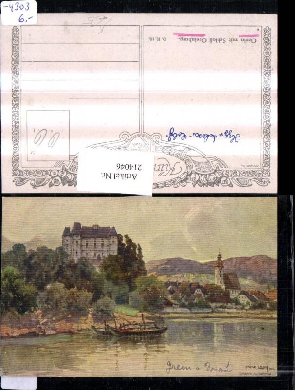 214046,Künstler AK Lach Fritz Grein a. d. Donau m. Greinburg pub Kilophot
