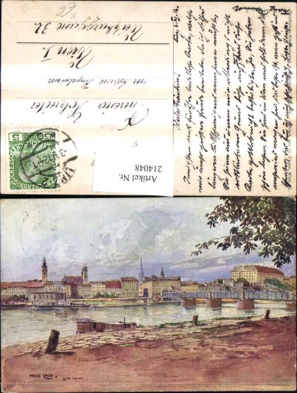 214048,Künstler AK Lach Fritz Linz a. d. Donau Teilansicht Brücke Partie