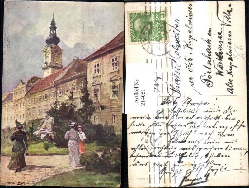 214051,Künstler AK Lach Fritz Linz a. d. Donau Promenade