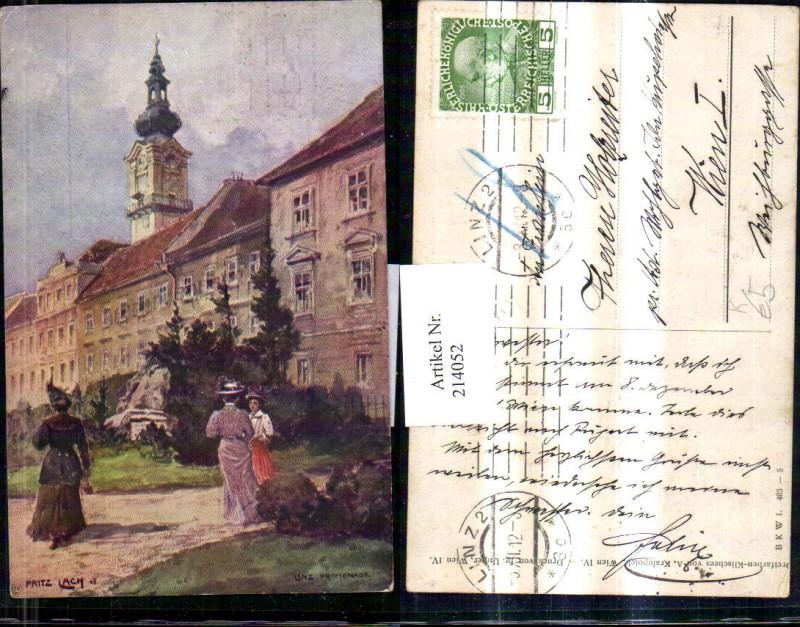 214052,Künstler AK Lach Fritz Linz a. d. Donau Promenade