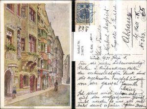 214074,Künstler AK E. F. Hofecker Innsbruck Hofgasse Straßenansicht Gasthof Burgriesen