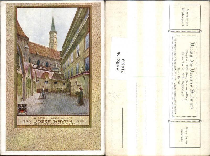 214109,Künstler AK Richard Moser Verein Südmark 272 Wien Wohnhaus Josef Haydn Straßenansicht