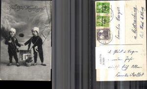 215020,Foto Ak Kinder a. Rauchfangkehrer Schornsteinfeger Kalenderblatt Klee Neujahr