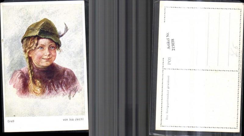 215038,Künstler Ak Isa Jechl Gretl Frau Mädchen m. Hut