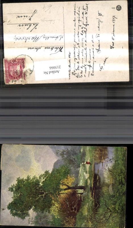 215066,Künstler Ak L. Schweiger Teich See Landschaft m. Frau