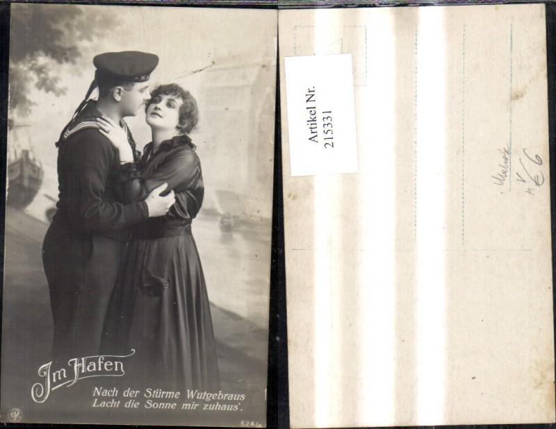 215331,K.k. Soldat Matrose m. Frau Abschied Am Hafen Spruch Text Marine Kriegsmarine S. M. S. pub NPG 524/4