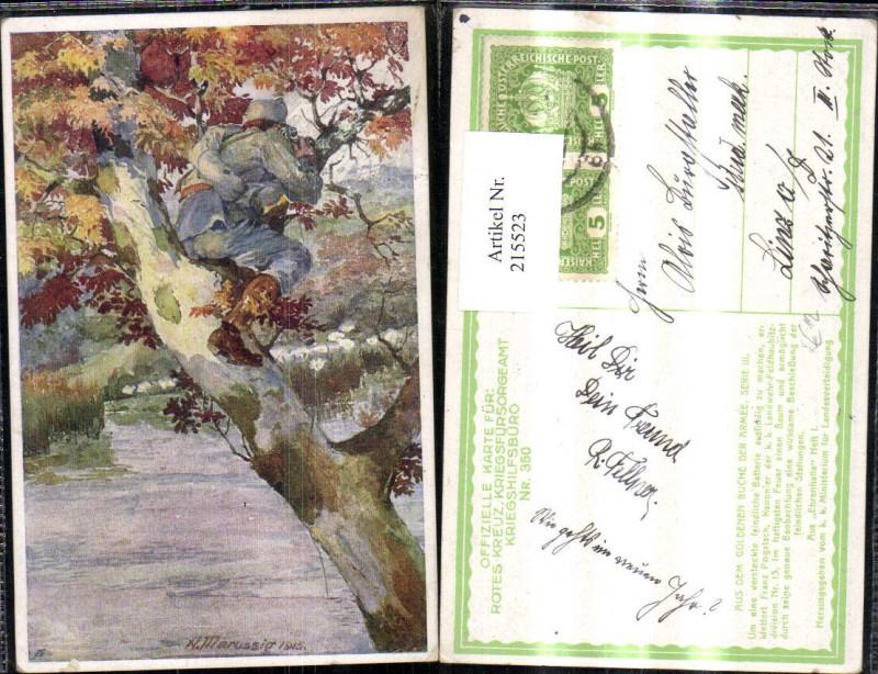 215523,Kriegsfürsorge 350 Künstler Ak A. Marussig Franz Pogatsch Kanonier Beobachtung Feind Baum