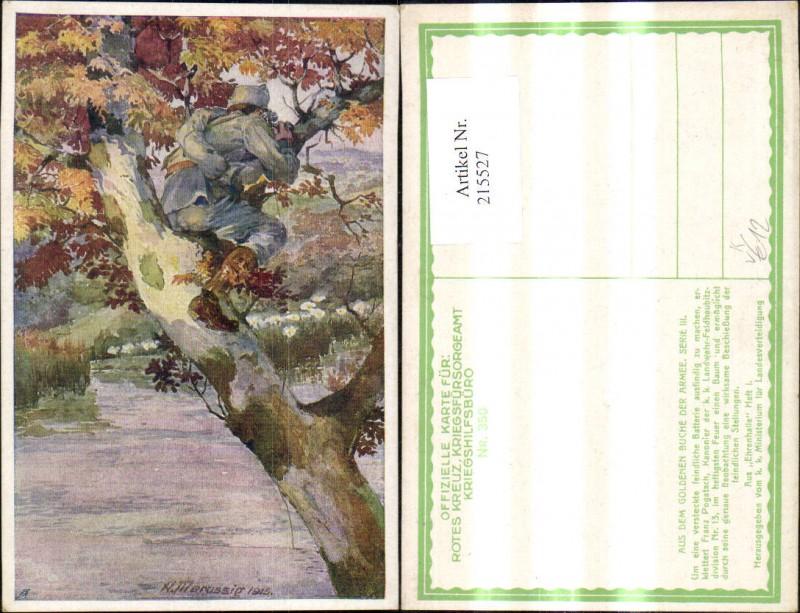 215527,Kriegsfürsorge 350 Künstler Ak A. Marussig Franz Pogatsch Kanonier Beobachtung Feind Baum