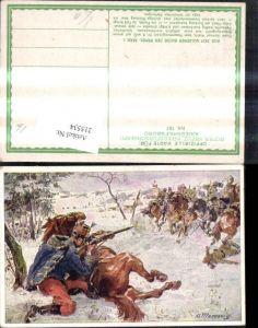 215534,Kriegsfürsorge 197 Künstler Ak A. Marussig Husar Samuel Kralik Erkundungsritt Beschuss d. Feind
