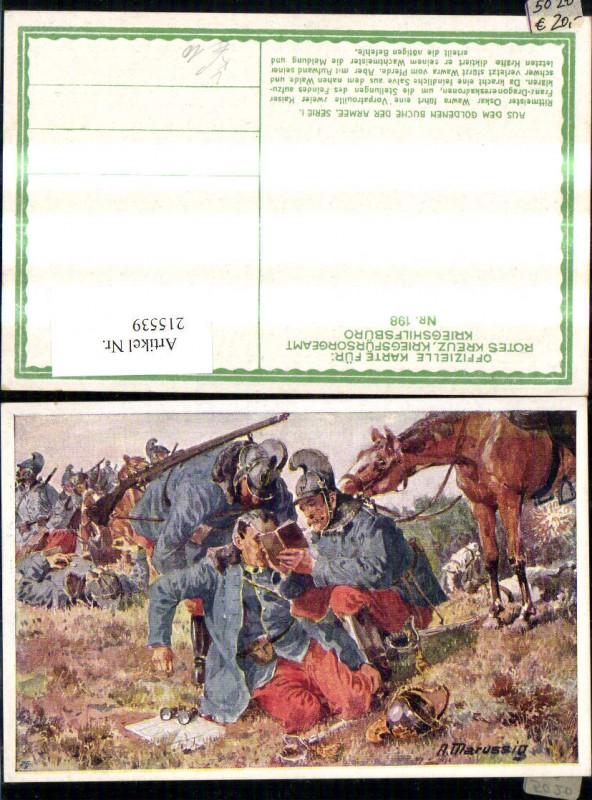 215539,Kriegsfürsorge 198 Künstler Ak A. Marussig Rittmeister Oskar Wawra Heldentod