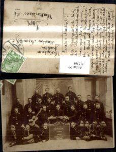 215568,K.k. Soldaten Gruppenbild Uniform Gitarre Zither Erinnerung a. Halbe Dienstzeit 1910-1913 Wels