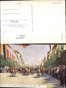 216441,Künstler Ak C. Benesch Kaiser-Jubiläums-Huldigungs Festzug Wien 1908 Soldaten Uniform Fahnen