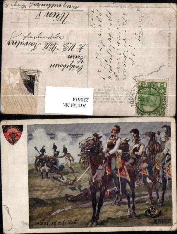 220614,Deutscher Schulverein 511 Künstler K. A. Wilke Männer m. Pferde Soldaten Kanone