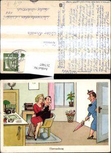 217487,Künstler Ak Überraschung Mann m. Frau a. Schoss Humor Scherz