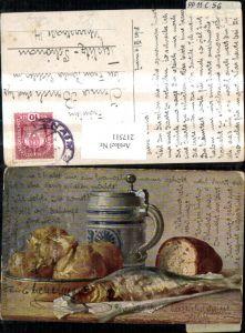 217511,Essen Künstler Ak M. Billing Stillleben Fisch Brot Bierkrug Krug